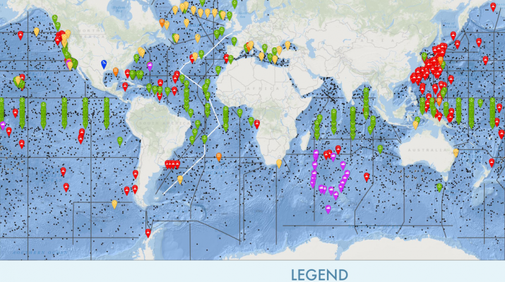 Figure 1. Snapshot of current interactive online map with observation efforts being conducted across the globe and at different depths.