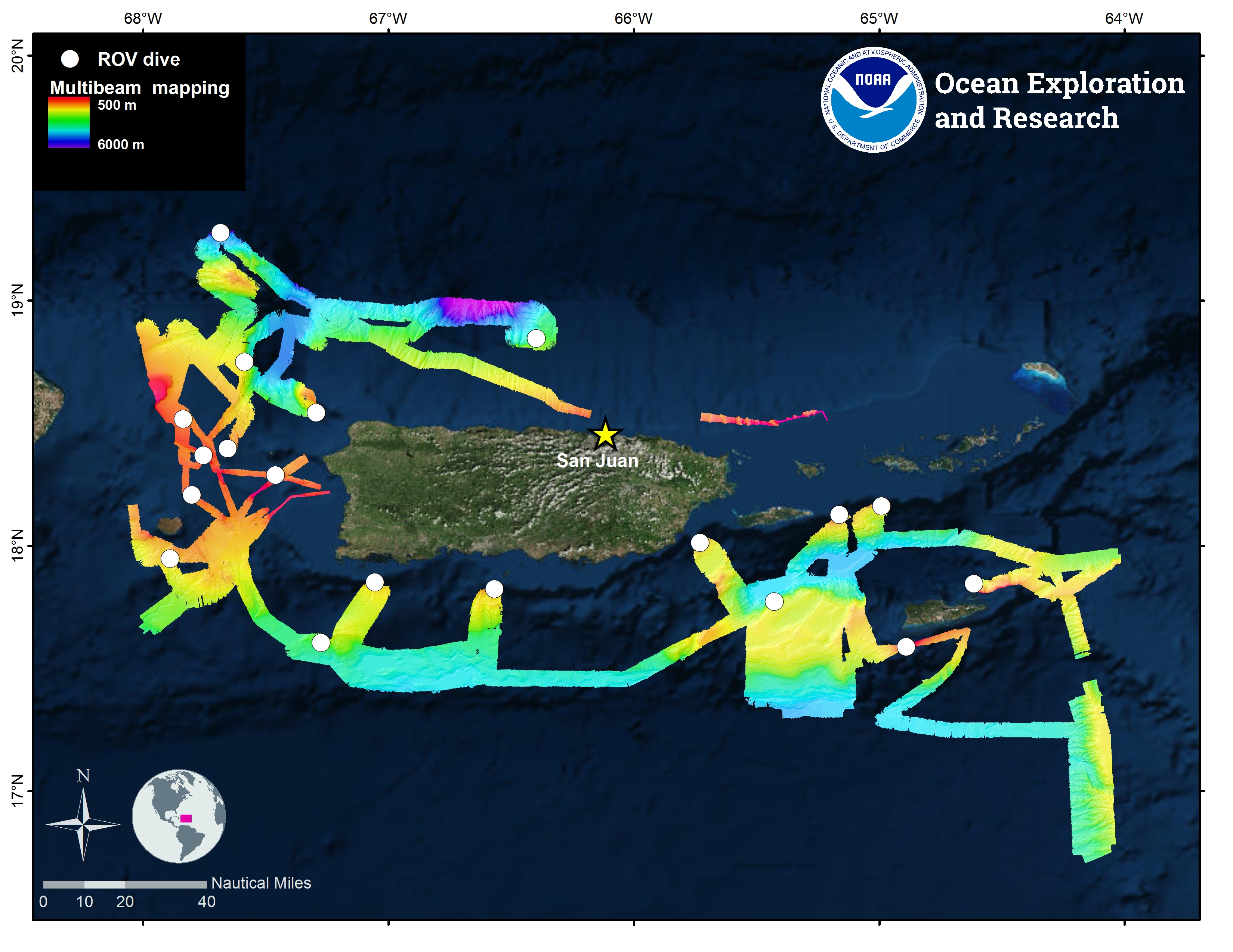 Figure 2. Overview map showing the locations of ROV and mapping operations completed during the Océano Profundo 2018 expedition.