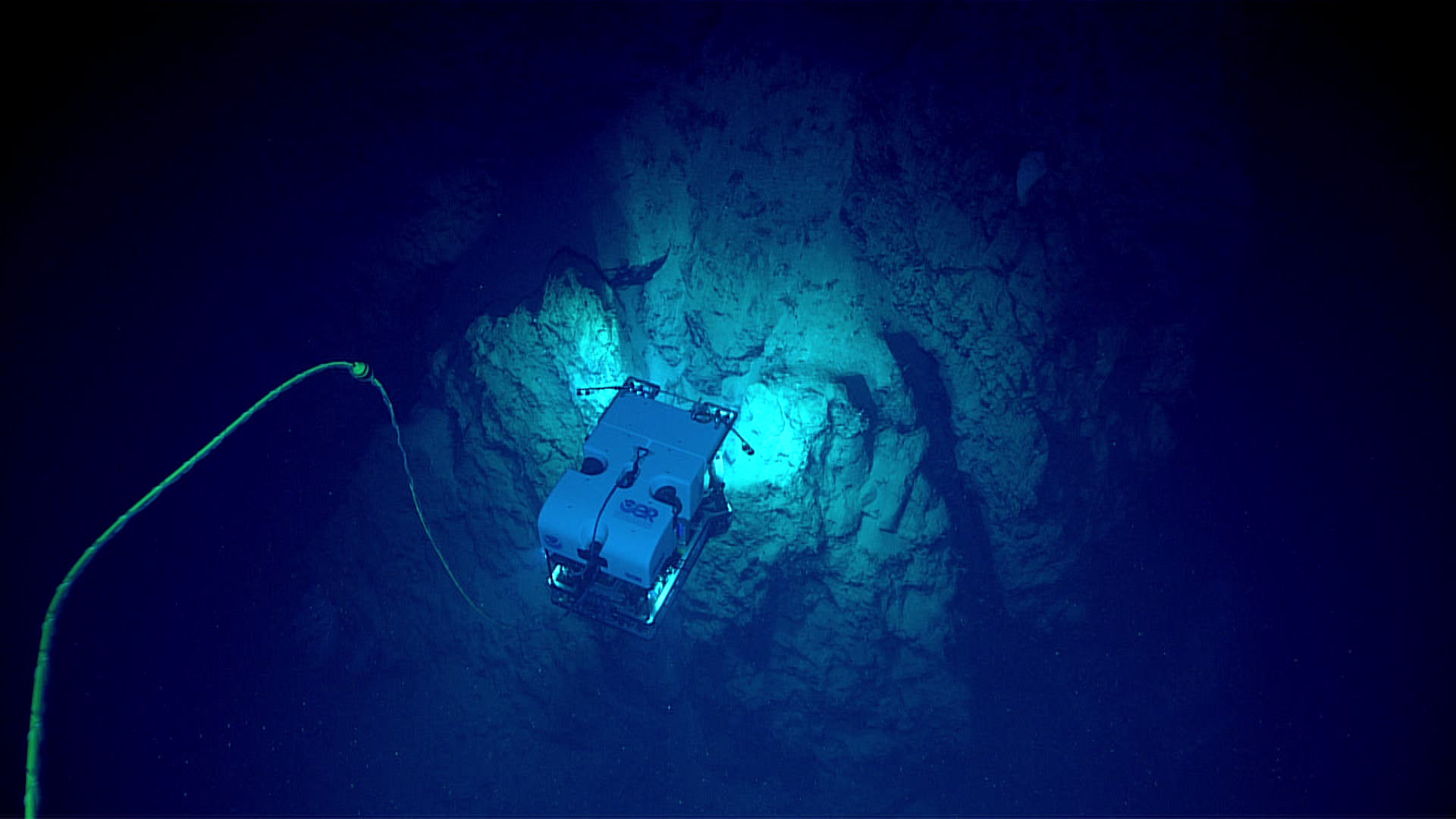 Figure 1. ROV Deep Discoverer exploring a narrow ridge at depths between 2,610-2,789 m off the south shore of Puerto Rico.