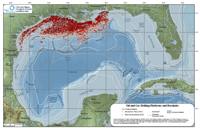 Figure 1. Map of Gulf of Mexico, US oil and gas drilling platforms and boreholes